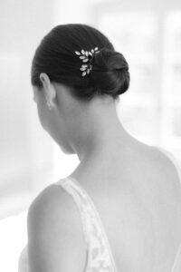 Die Braut im Portrait von hinten, Hochzeitsfotograf Bodensee - Alexandra Kasper